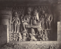 Relief sculpture depicting the marraige of Shiva and Parvati in Dumar Lena cave at Ellora